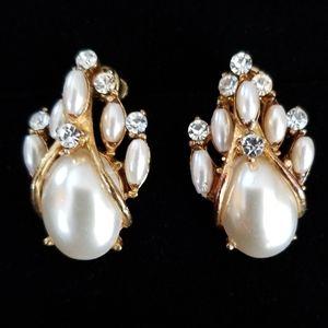 Vintage Mid Century Faux Pearl Rhinestone Earrings